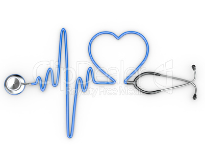 1 1240244 stethoscope and a silhouette of the heart and ecg